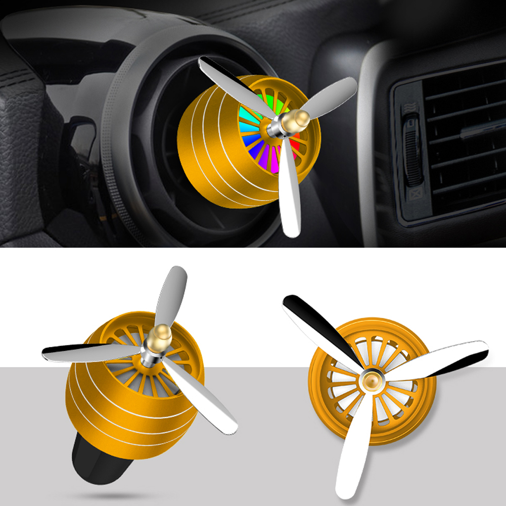 Air Freshener Car Air Perfume Mini Conditioning Vent Outlet Perfume Clip  No. 3 with lights ( gold)