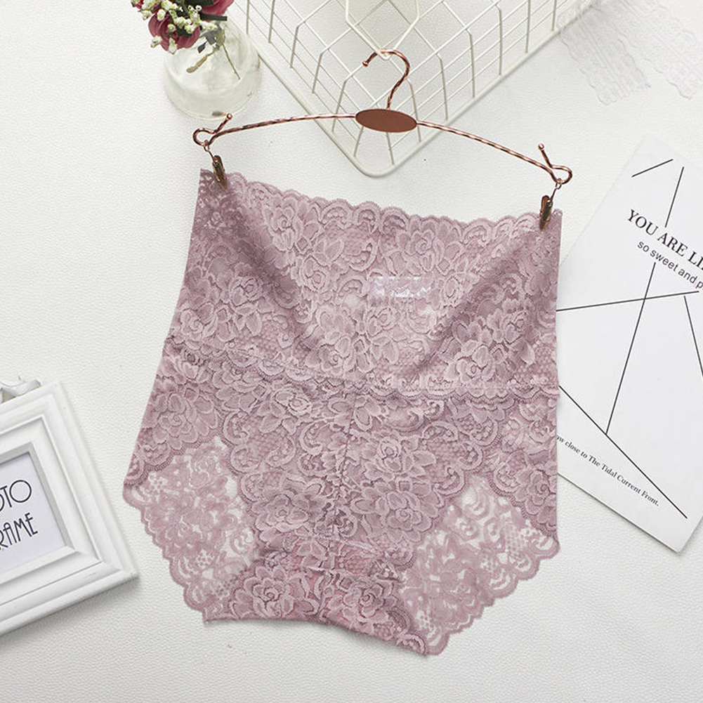 Women's Lingerie Sexy Lace Mesh Floral Seamless Plus Size High Waist Underpants pale pinkish gray_XL