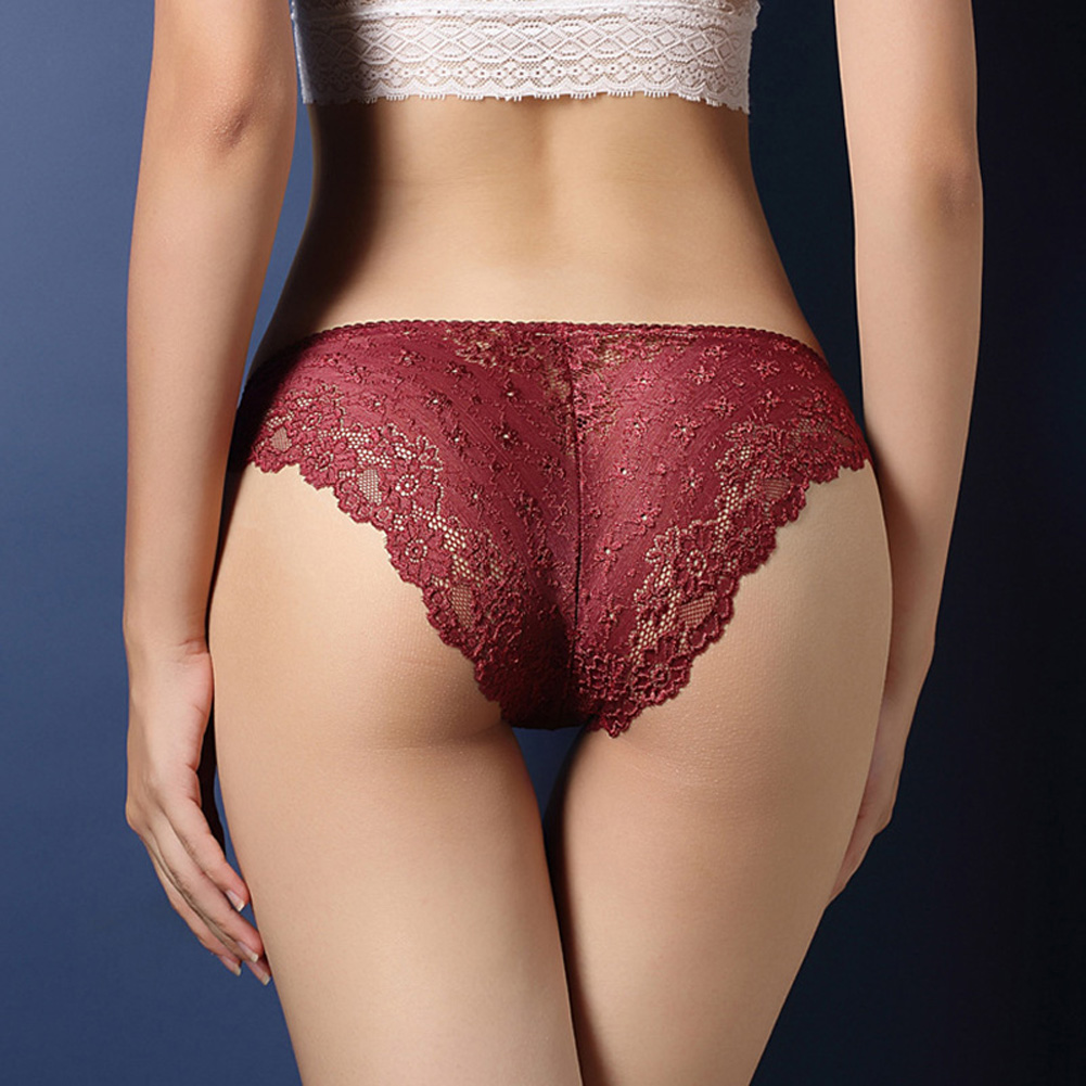 Women Lace Floral Sexy Underwear Ultra-thin Low Rise Erotic Lingerie Briefs Temptation Panties Wine Red_One size