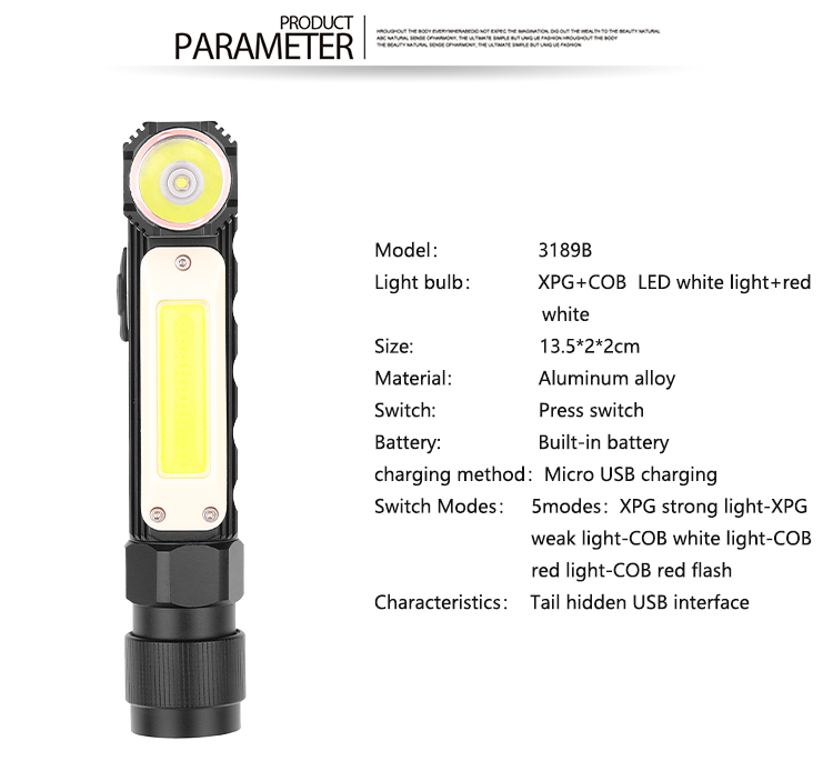 XPG+COB Red White Light 90 Degree Adjustable USB Charging Working Flashlight 3189B small section