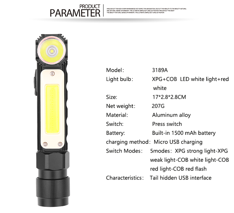 XPG+COB Red White Light 90 Degree Adjustable USB Charging Working Flashlight 3189A large section