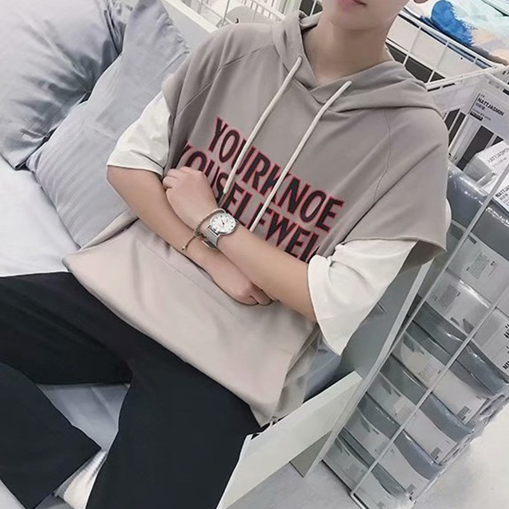 Fake Two-piece Short Sleeves Sweater Loose Casual Pullover Top with Letters Decor for Man gray_M