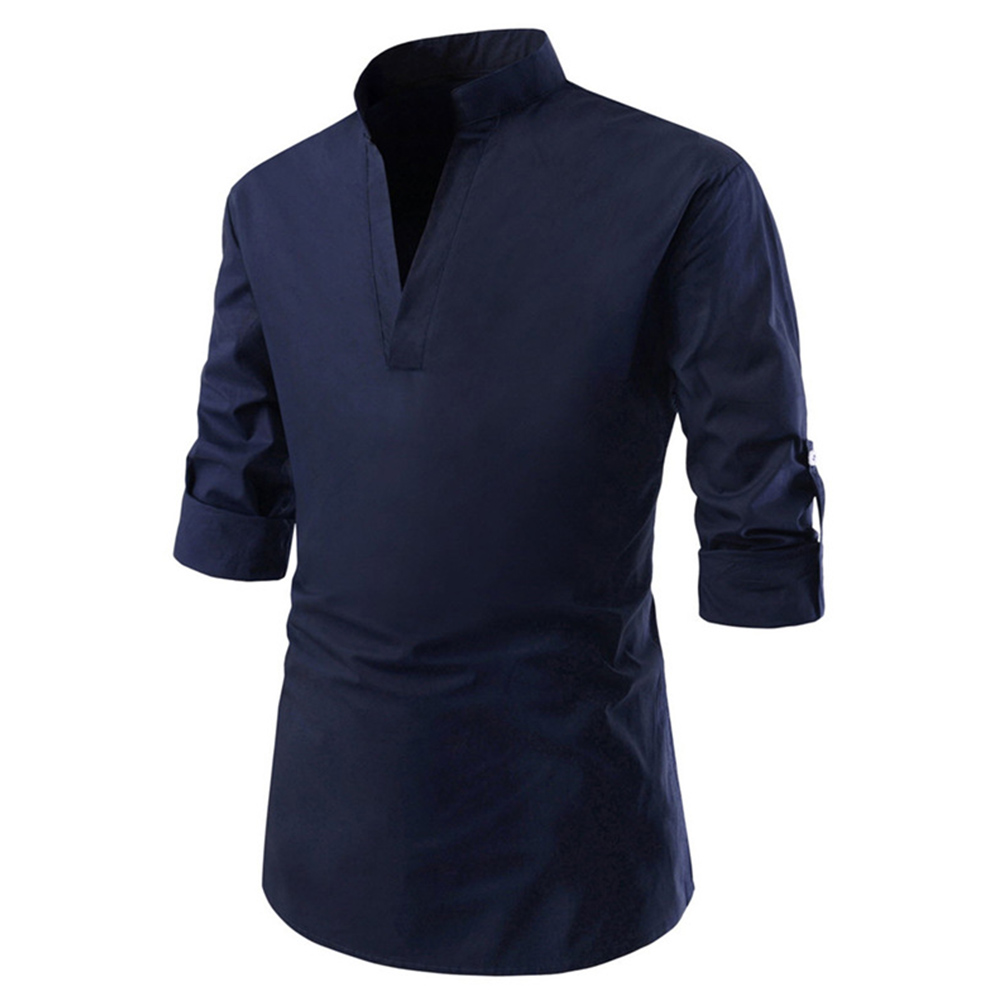 Men Solid Color Pullover Stand Collar Long Sleeve Casual Shirt Navy_L