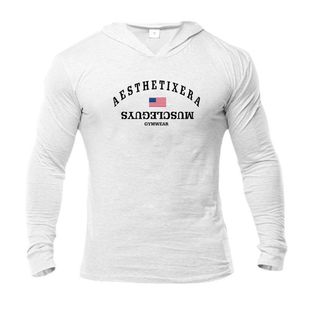 Male Hoodie with Letters Printed Long Sleeves Top Leisure Pullover Slim Sports Wear white_L