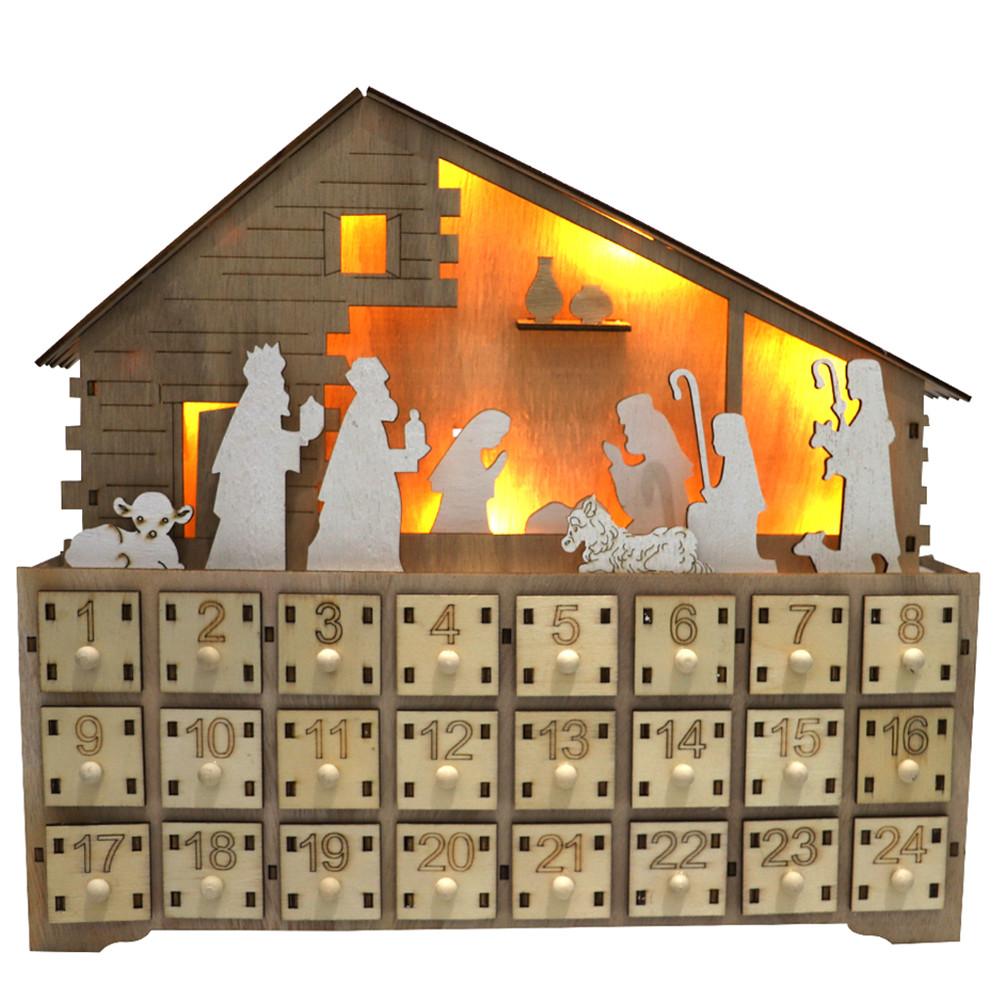 Wooden Christmas Advent Calendar Led Countdown  Calendar Decorative Ornaments As shown