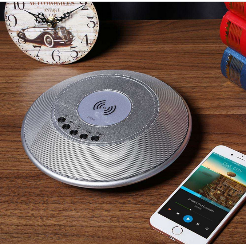 Wireless Charger Bluetooth Speaker - NFC, 1800mAh Battery, TF Card Slot, FM, AUX In, Clock Alarm, Built-in Microphone
