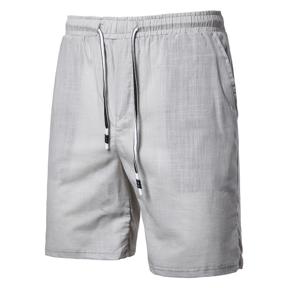 Men Beach Shorts Straight Tube Shape Flax Solid Color Shorts  gray_3XL