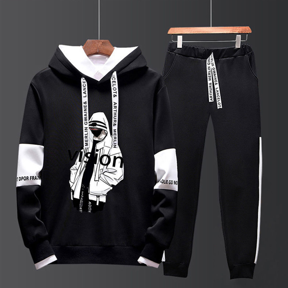 Two-piece Sweater Suits Long Sleeves Hoodie+Drawstring Pants Sports Wear for Man 1#_L