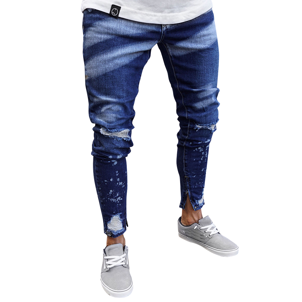 Men Painting Zipper Slim Distressed Jeans Pants for Outdoor Daily Wear Dark blue_M