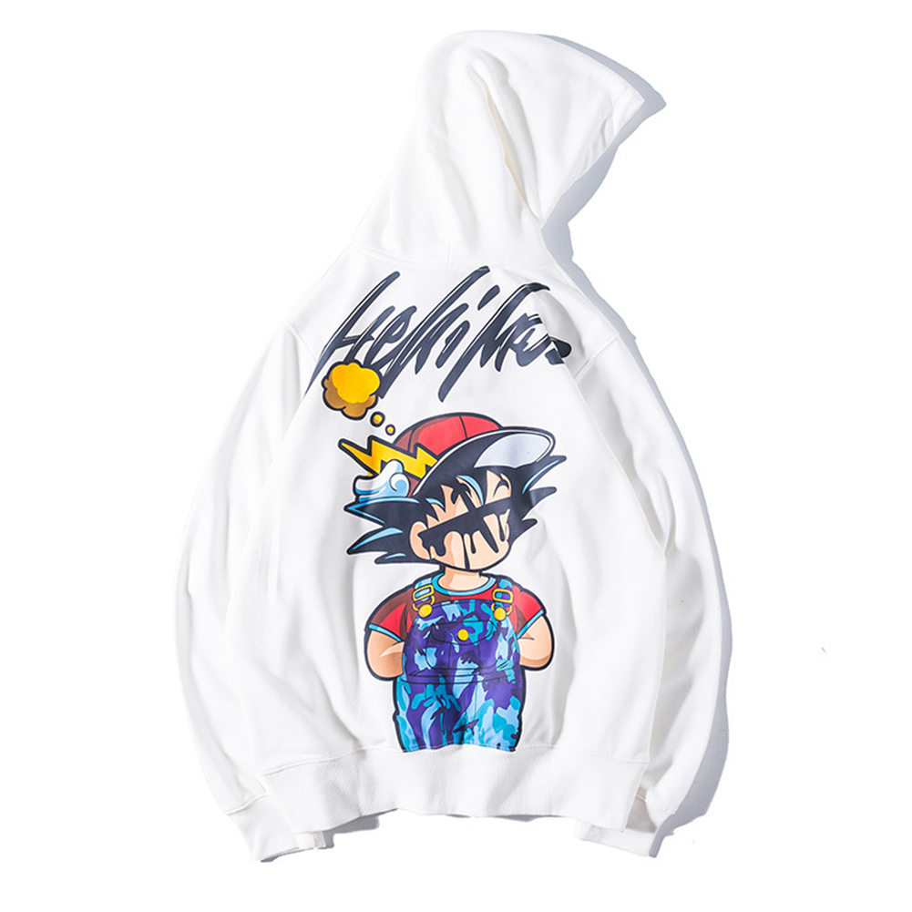 Man Fashion Cartoon Anime Doodle Loose Hooded Jacket Top White_M