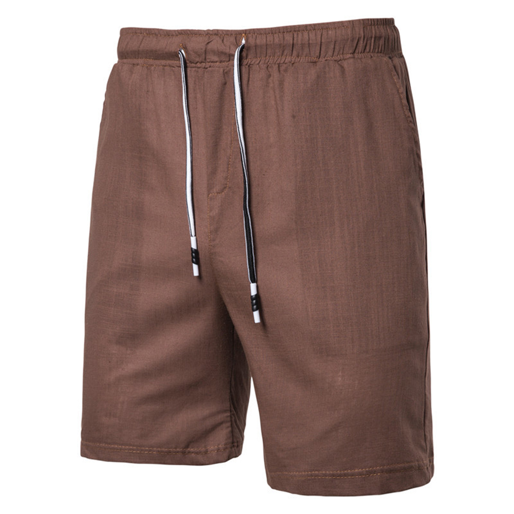 Men Beach Shorts Straight Tube Shape Flax Solid Color Shorts  brown_XL