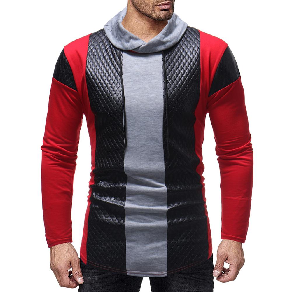 Men Fashion Casual Long Sleeve Collar Long Sleeve T-Shirt Tops black_M