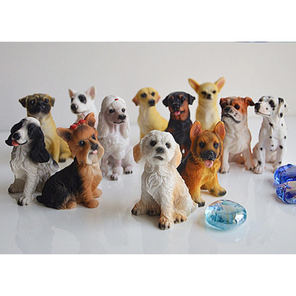 12Pcs Lovely Dog Shape Resin Crafts Landscape Ornaments 12pcs