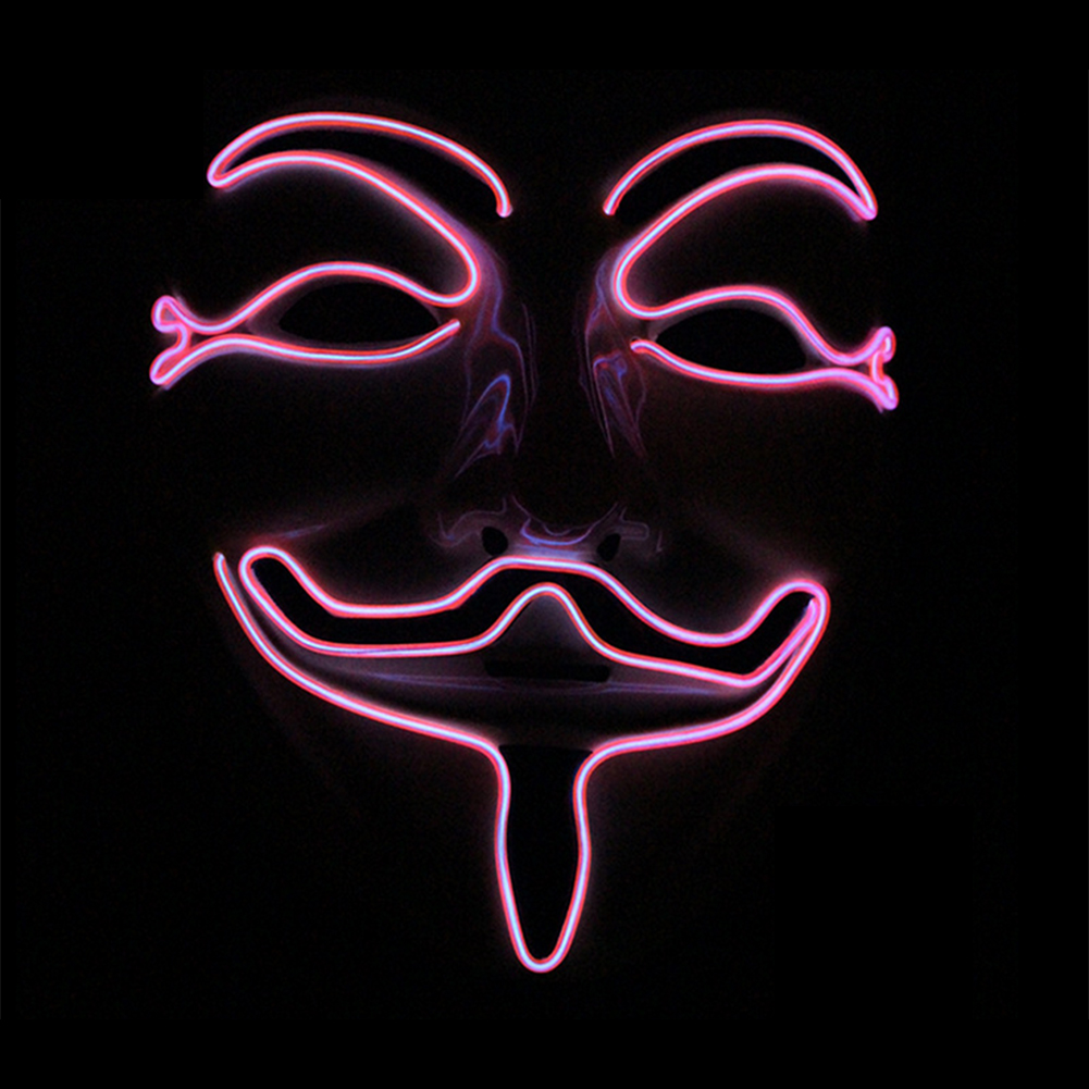 Halloween EL Glowing V Letter Mask Grimace Costume Mask Perfect Party Decoration pink 1