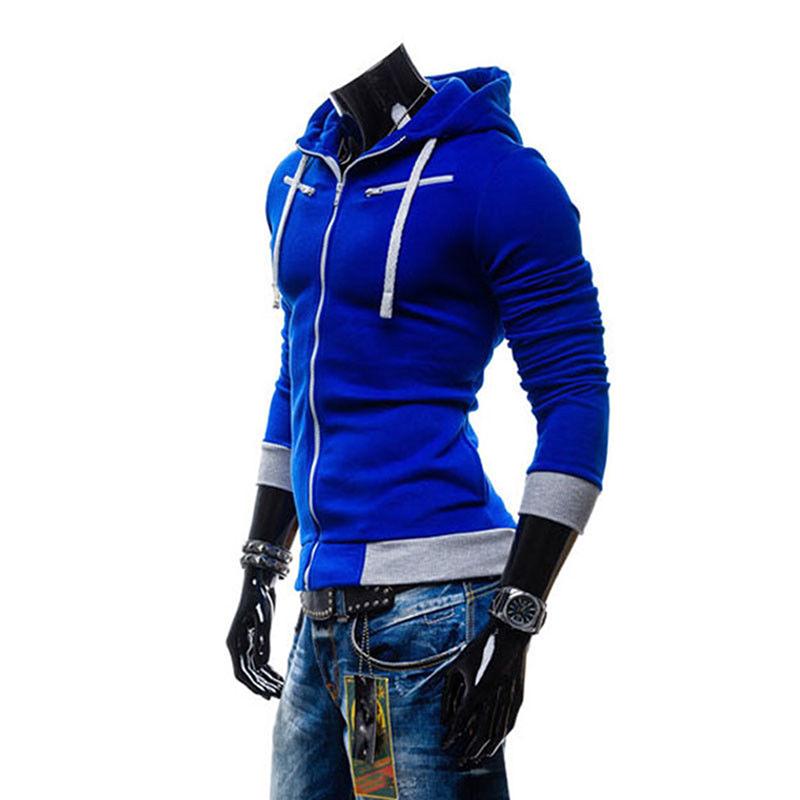 Men Fashion Matching Color Fleece Cardigan Hoodie Windproof Warm Drawstring Jacket Royal blue_L