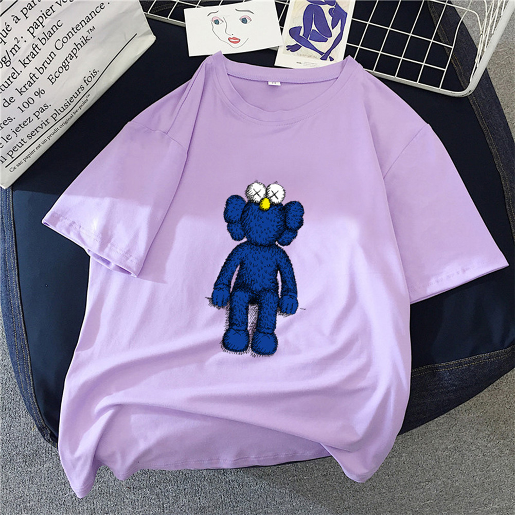 Boy Girl KAWS T-shirt Cartoon Sitting Doll Crew Neck Loose Couple Student Pullover Tops Violet_M