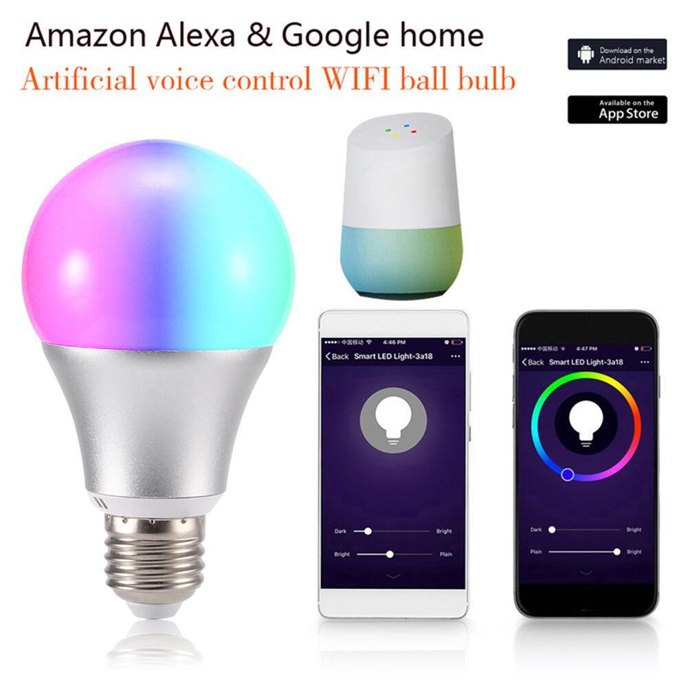 11W Smart Wifi Light Alexa&Google Home Voice Control LED Ball Bulb