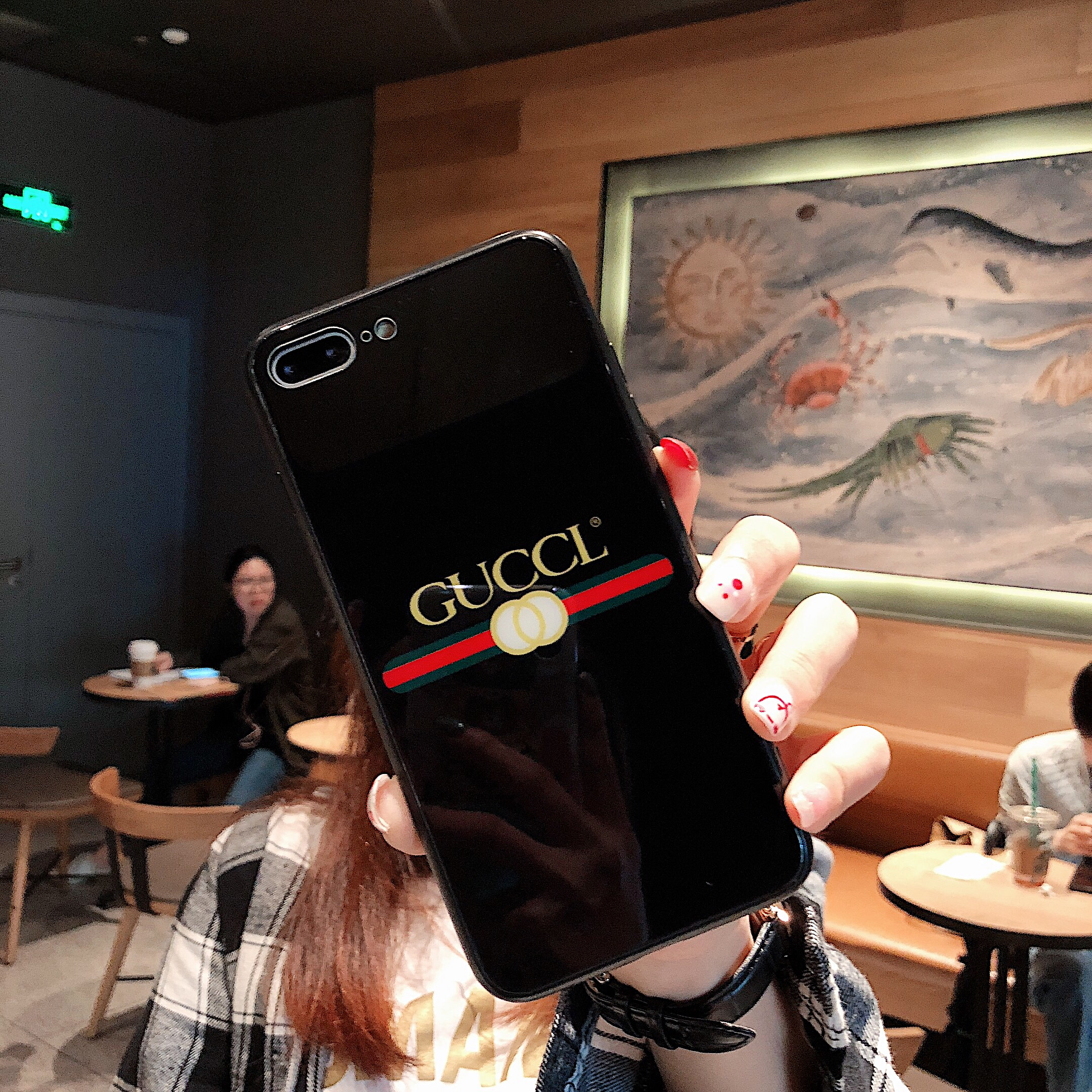Gucci Icon Phone Case for iPhone6/6S, 6/6S PLUS, 7/8, 7/8plus, X/XS, XR, XS MAX Chic Mirror Full Protection Anti-falling black