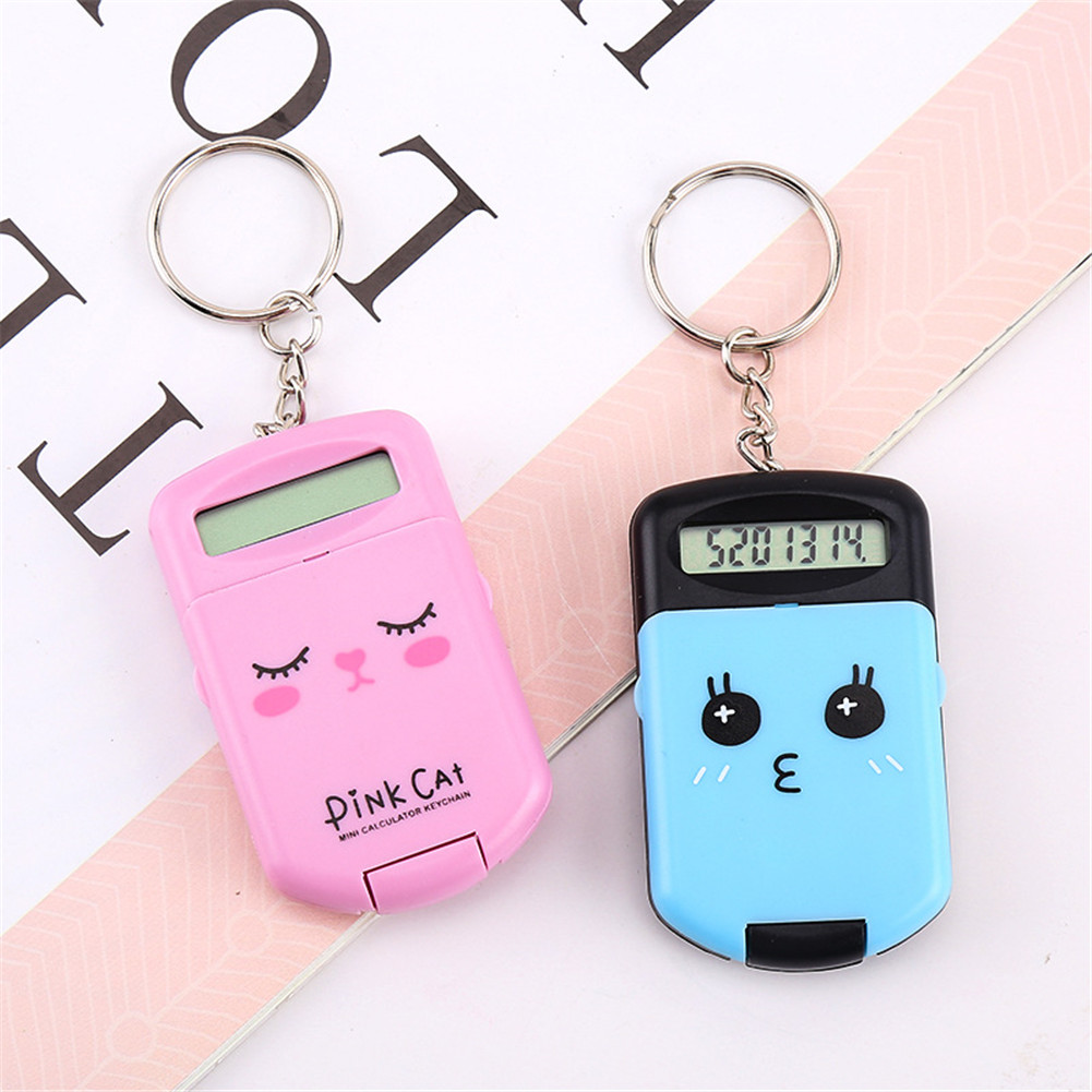 Portable Digit Calculator Mini Calculator Pocket Display Cartoon Cute Creative Keychain  Calculator black