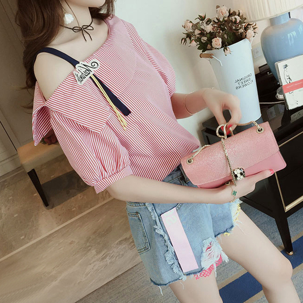 Women All Match Striped Printing Single Shoulder Short Sleeve T-shirt  red_S