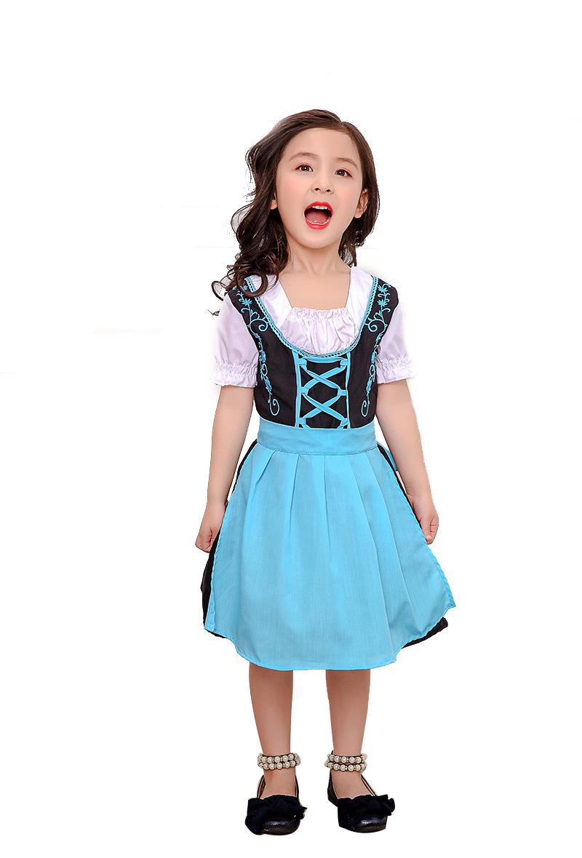 Girl Kids Costume Dress Bavarian National Style Dirndl Uniform for Oktoberfest Beer Festival Halloween blue_XL