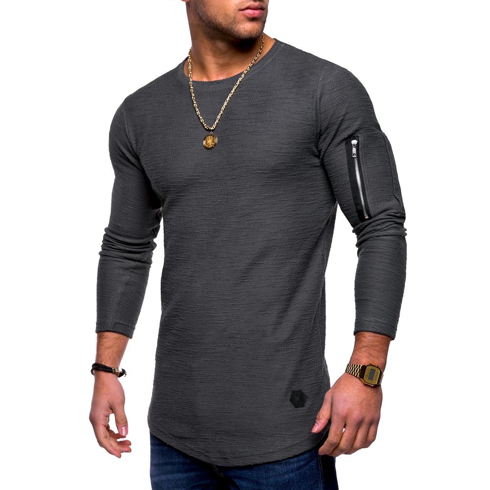 Men Shirt Casual Long Sleeve Zipper Pocket Pullover Slim Fit Top gray_XXL