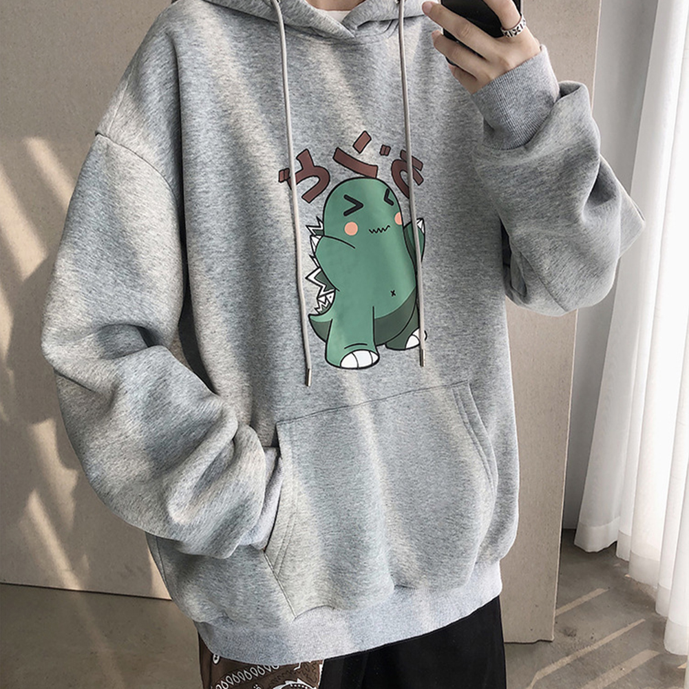Men Hip-hop Hoodie Sweatshirt Autumn Winter Cartoon Animal Couple Loose Casual Pullover Tops gray_M