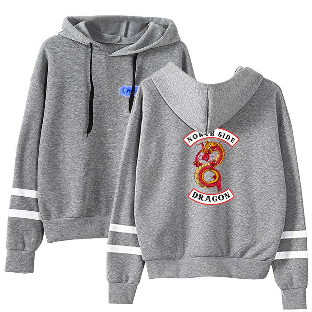 Men Women American Drama Riverdale Fleece Lined Thickening Hooded Sweater Gray E_L