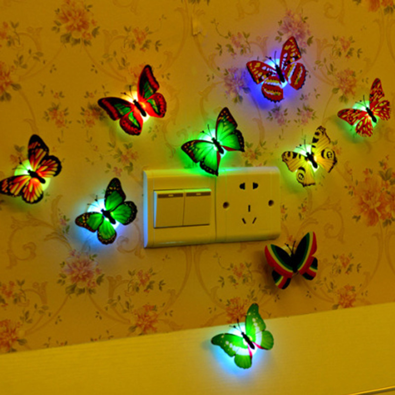 Creative Colorful Butterfly LED Stick-Anywhere Night Light Lamp Random Style