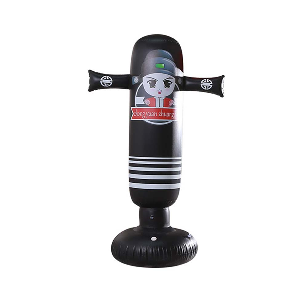 Inflatable Vertical Boxing Column Tumbler Inflatable Sandbag Decompression Fitness Toy cartoon men (black)