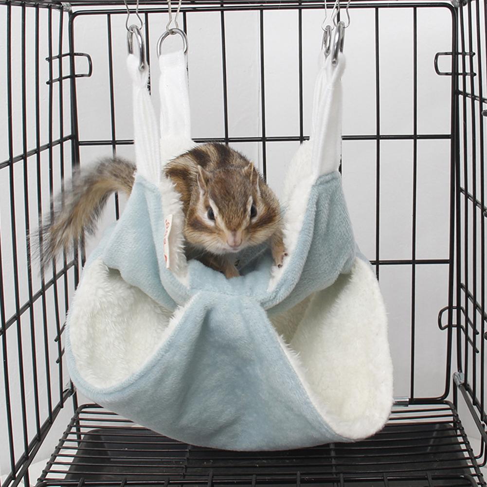 Cute Mini Small Animal Pet Hamster House Nest Warm Sleeper Hammock Rabbit Hedgehog Pet Sleeping Log Cabin Animal Sleeping House Supplies Toy L_Blue