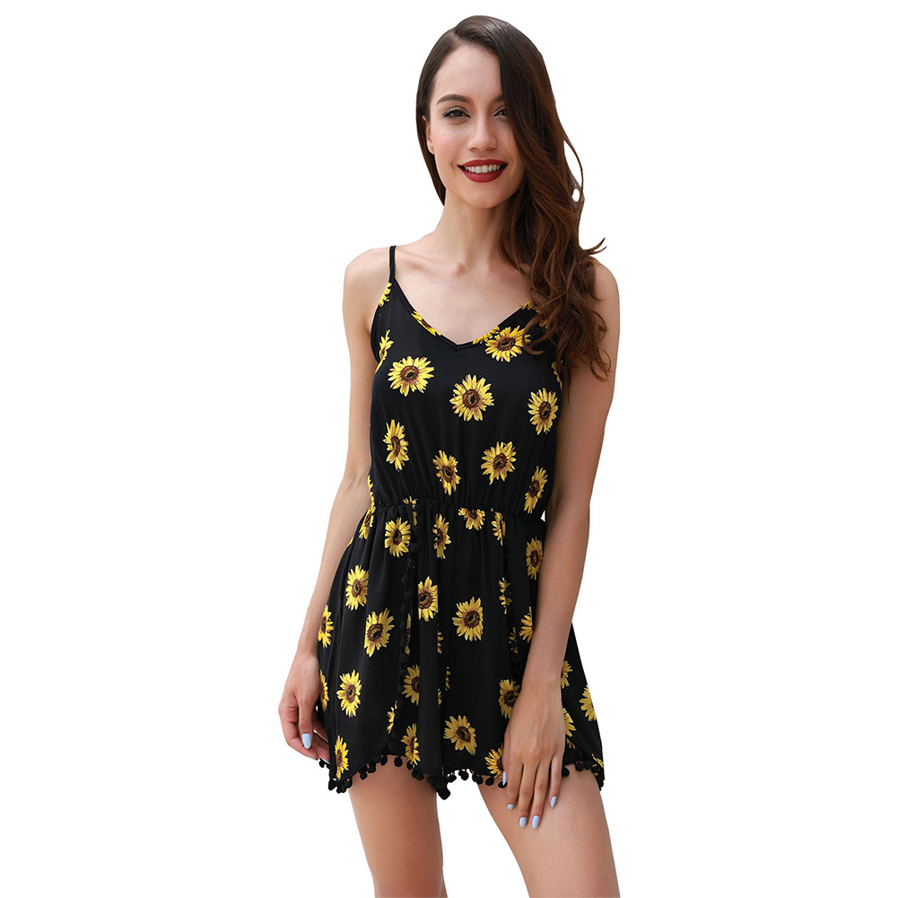 Female Fashion Printing Casual Jumpsuit Strap Top Pants Summer Suits Small daisy_L