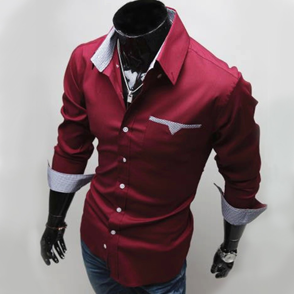 Men Long Sleeve Fashion Slim Casual Thin Plaid Shirt Red wine_M