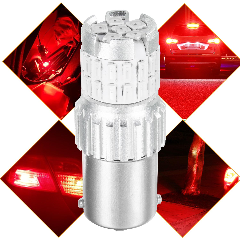 2pcs Fast Heat Disspation Aluminum LED Bulb for Drviaion 1156/1157Canbus Light Red light_1156 bau15s py21w