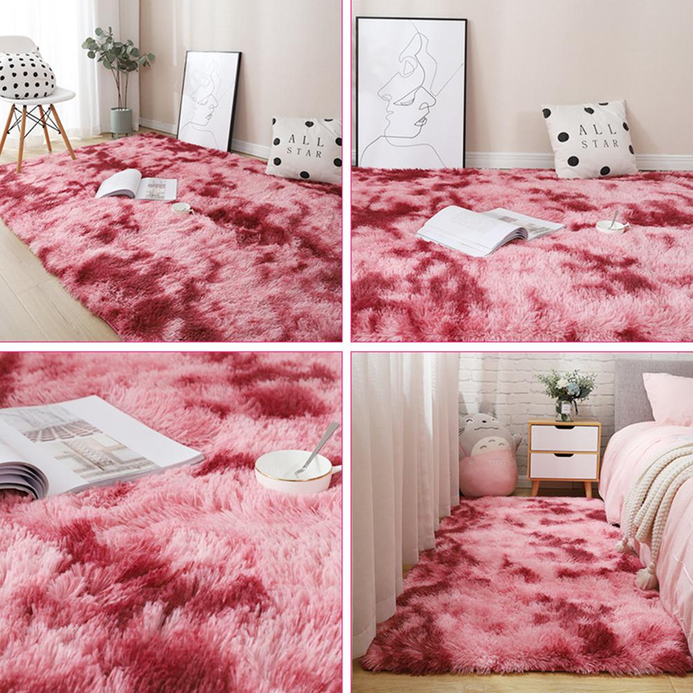 Carpet Tie Dyeing Plush Soft Floor Mat for Living Room Bedroom Anti-slip Rug dark red_80x160cm