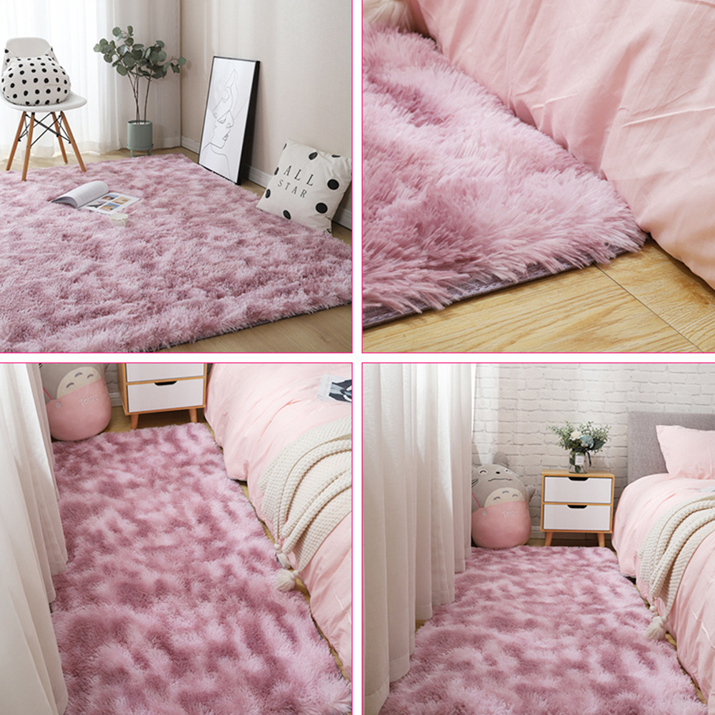Carpet Tie Dyeing Plush Soft Floor Mat for Living Room Bedroom Anti-slip Rug Pink purple_80x160cm