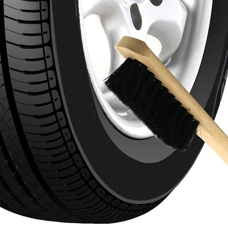 Car Cleaning Brush Engine Tire Wheel Rim Long Bamboo Handle Natural Bristl Auto Detailing Washer 40CM_Arc handle