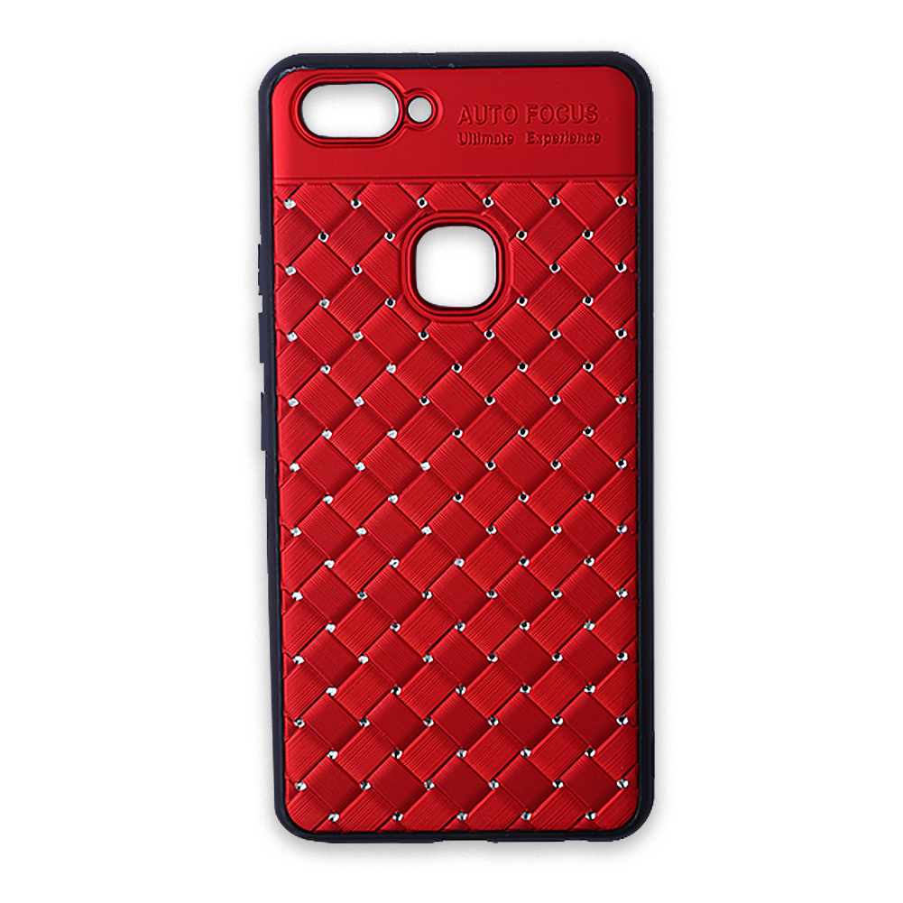 for VIVO X20 plus Soft PC+TPU Luxury Crystal Grid Weaving Pattern Case Cover