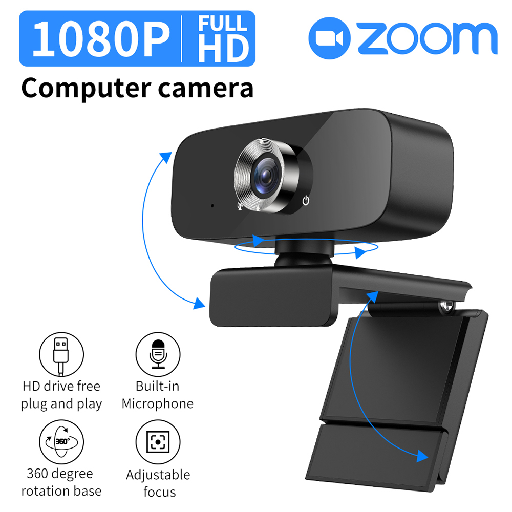 1080p High-definition Webcam Video Conference Computer Camera With Microphone black