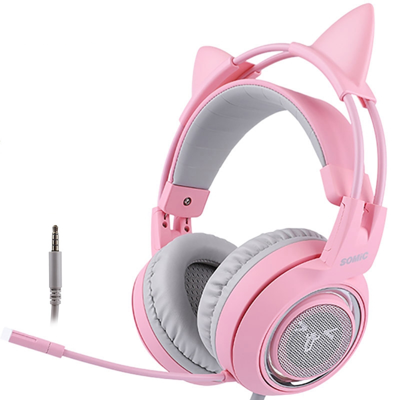 SOMIC G951S Pink Cat Headphones Wired Gaming Headset 3.5mm Headset with Mic for PC Pink