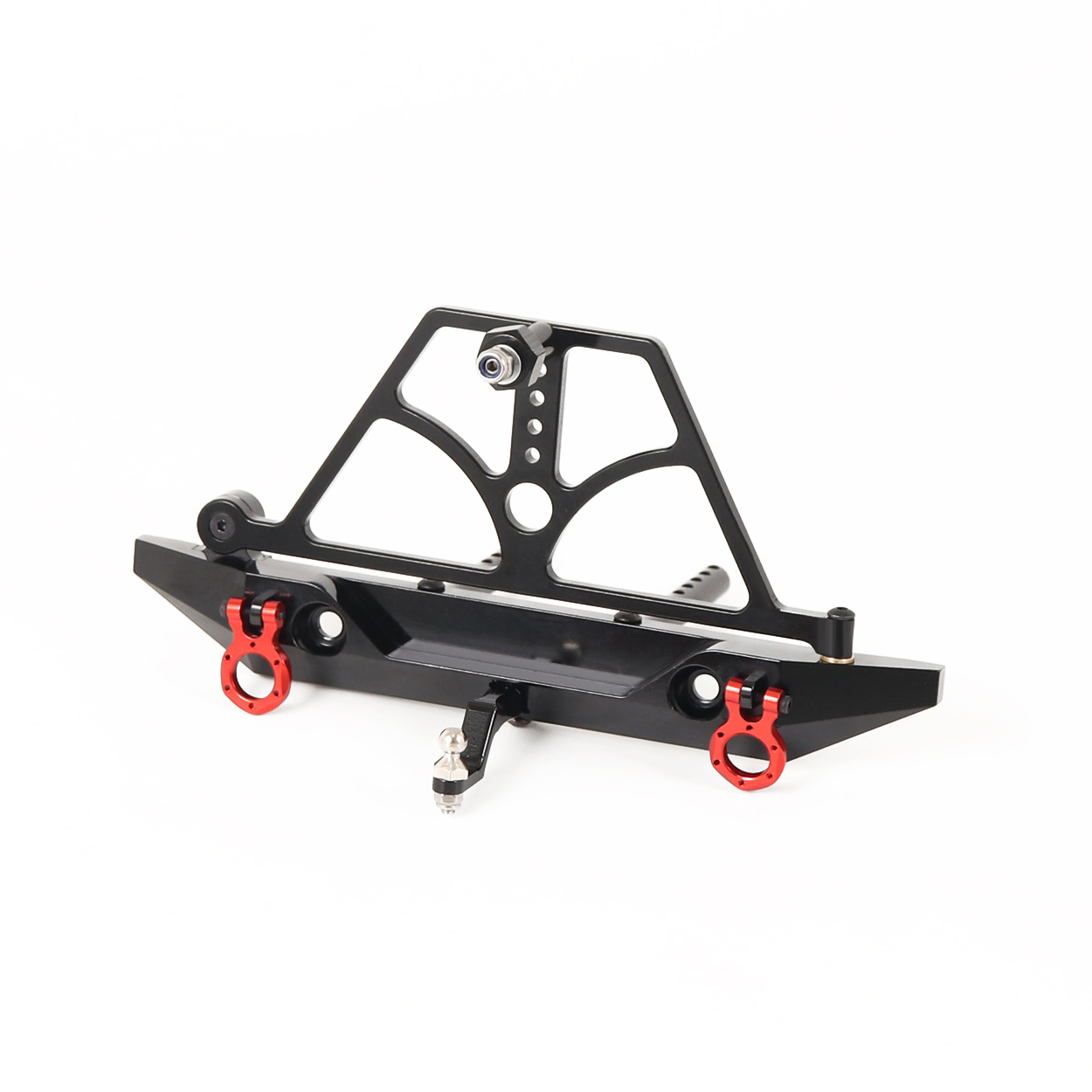 CNC Aluminum Rear Bumper with Swing Spare Tire Rack and Trailer Hitch for 1/10 RC Crawler Axial SCX10 D90 RGT 86100 black