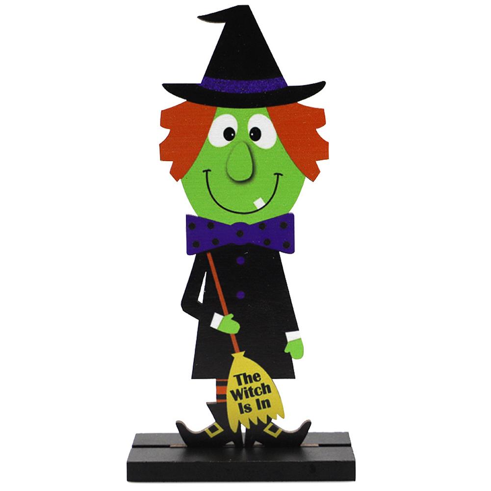 Wooden Decoration Halloween Pumpkin Man Witch Home Table Crafts JM02002