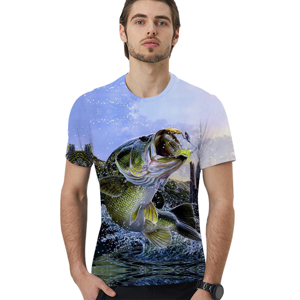 Unisex 3D Digital Printing Loose-fitting Large Size Round Neck Short Sleeves T-shirt