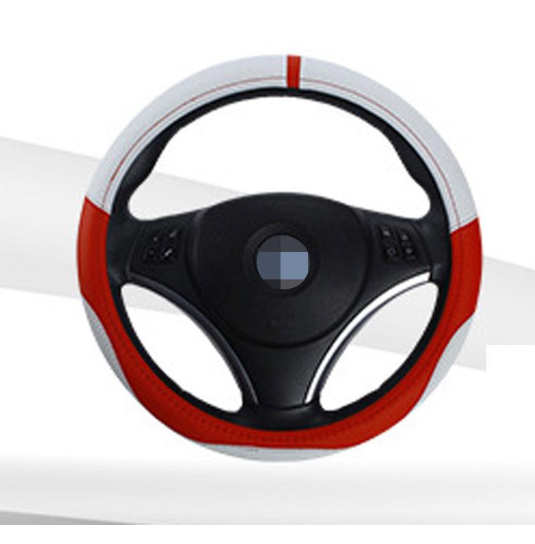 36cm 38cm 40cm Diameter Integration Seamless Car Steering Wheel Cover Sleeve for Universal Application White + red_36cm