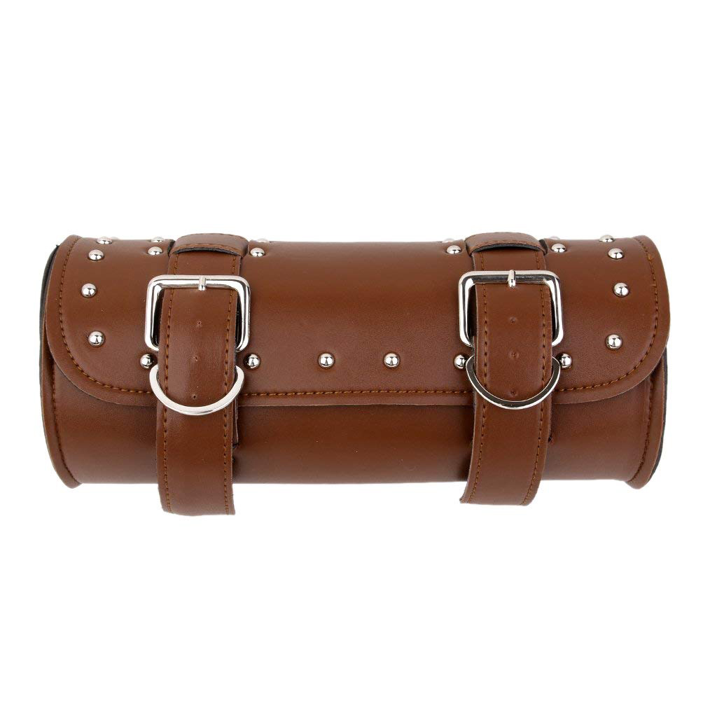Brown Leather Motorcycle Luggage Tool Roll Saddle Bag Protective Pouch Case for  brown