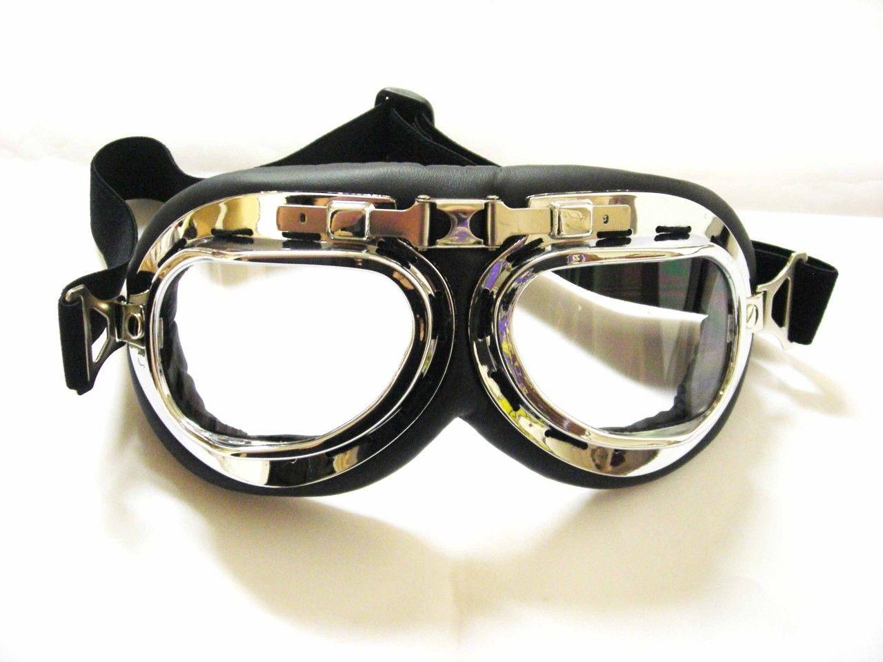 Vintage Aviator Pilot Style Motorcycle Cruiser Scooter Goggle Ultraviolet-proof Transparent Lens Transparent  lenses