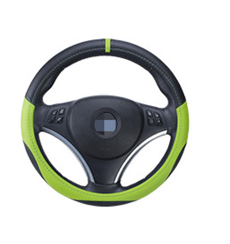 36cm 38cm 40cm Diameter Integration Seamless Car Steering Wheel Cover Sleeve for Universal Application Black + green_36cm