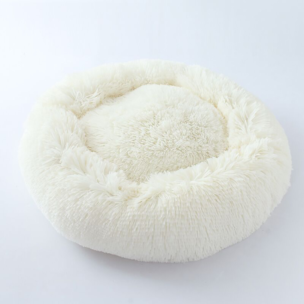 Cute Round  Macarons Shape Long Plush Pet Nest for Cat Dog Sleeping Milky white_small