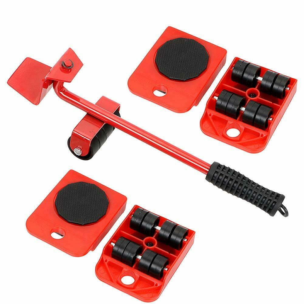 Furniture Mover Tool Set Furniture Transport Lifter Heavy Stuffs Moving Tool 4 Wheeled Mover Roller+1 Wheel Bar Hand Tools Set Full red