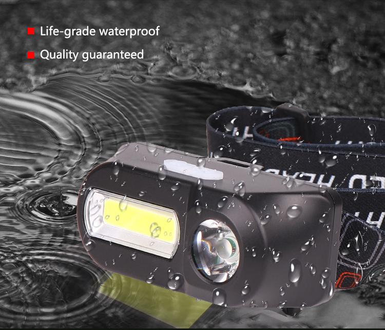 Portable Mini LED Headlamp USB Charging Flashlight for Outdoor Camping  black_Model 1804